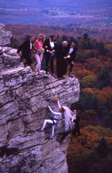 Lynn and Russ sharing vows on the cliffs at the Gunks.