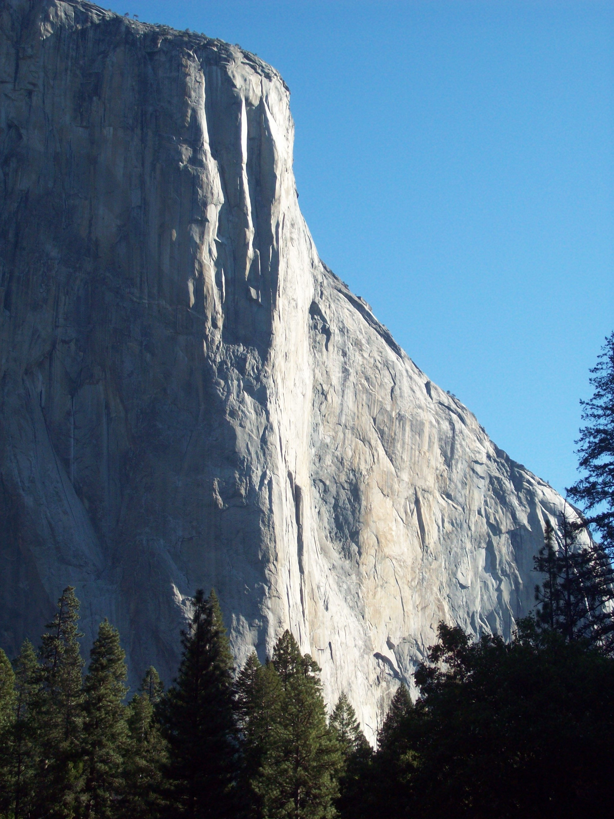 3,000ft El Capitan. The Nose route roughly follows the line between shadow and light.