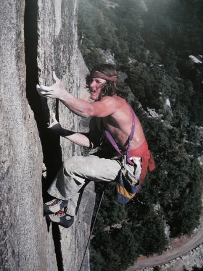 John Yablonksi on Wheat Thin (5.10c) in Yosemite