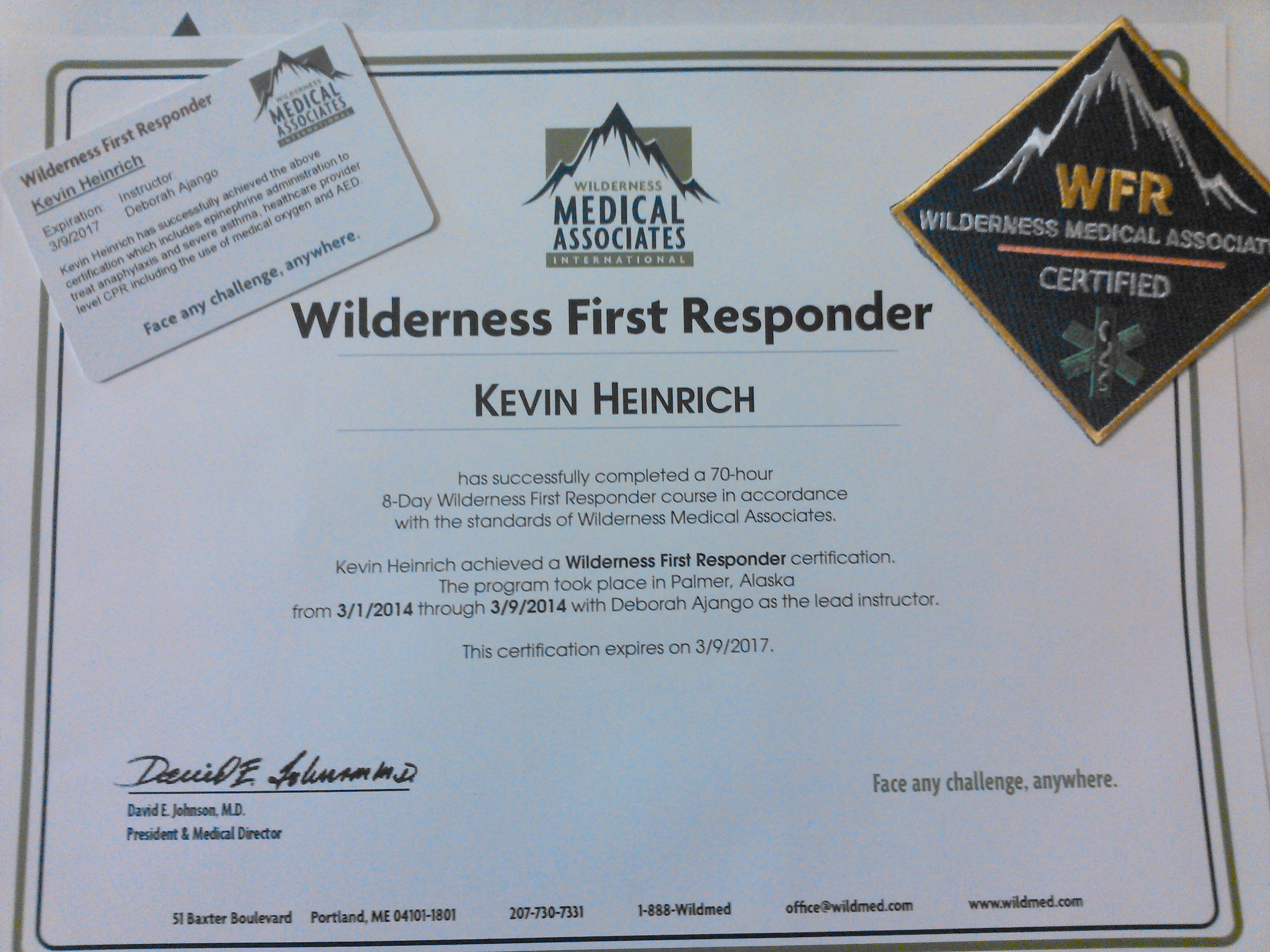 responder wilderness study guide certification heinrich kevin wma wfr