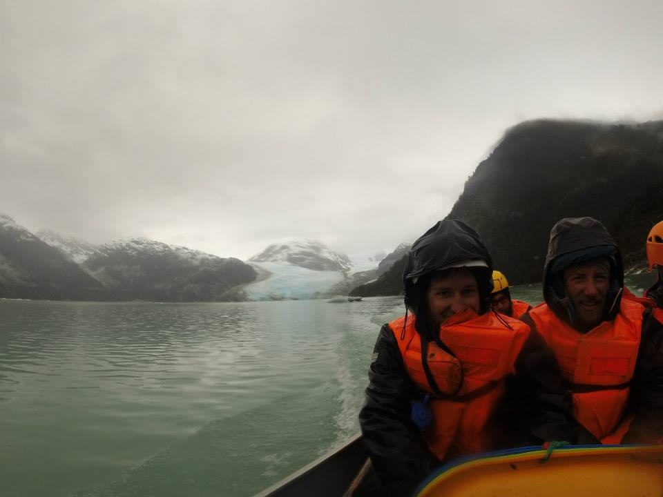 Wet boat ride out. Leones Glacier in the background.