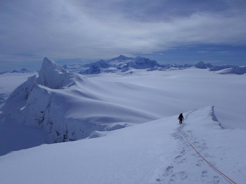 Me leading down the summit ridge of Escuela.