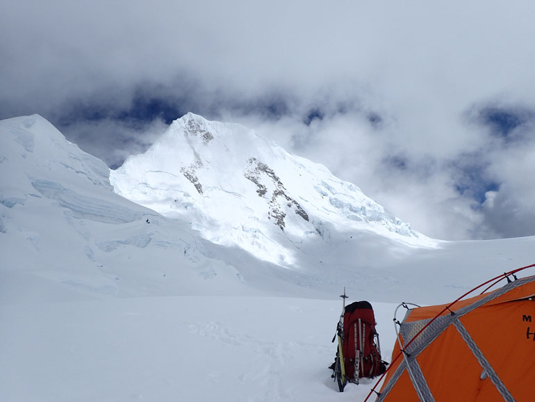 A glance over at Quitaraju from High Camp.